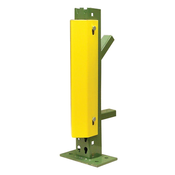 yellow metal guard attached to pallet rack post