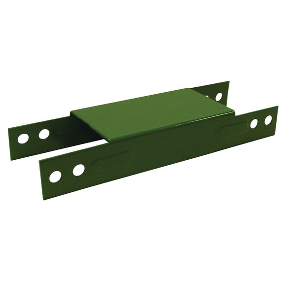 green metal H-shaped piece with eight holes