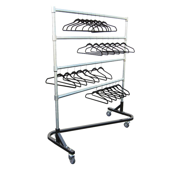 chrome z shaped garment rack with hangers