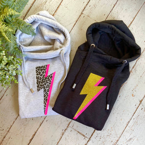 Leopard print lightning bolt cowl neck hoodies - Made to order in Wells next The Sea, Norfolk by Glitter & Mud