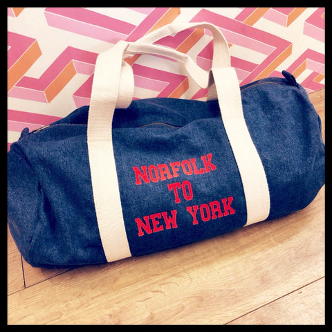 Personalised Denim Weekend Bag