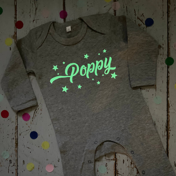 Personalised glow in the dark babygrow - Glitter & Mud. Babyshower gift, newborn gift, 1st birthday