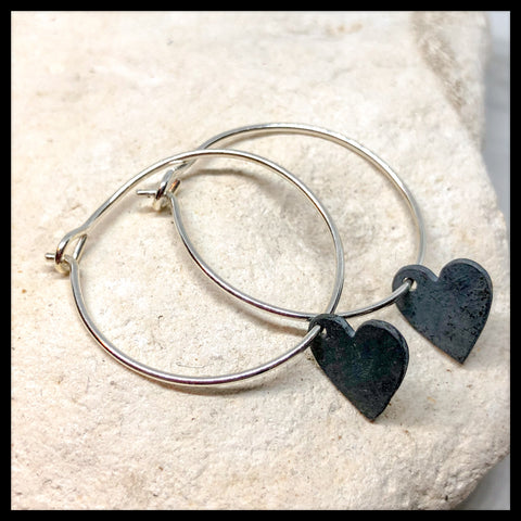 Handmade Silver hoops with silver heart drops