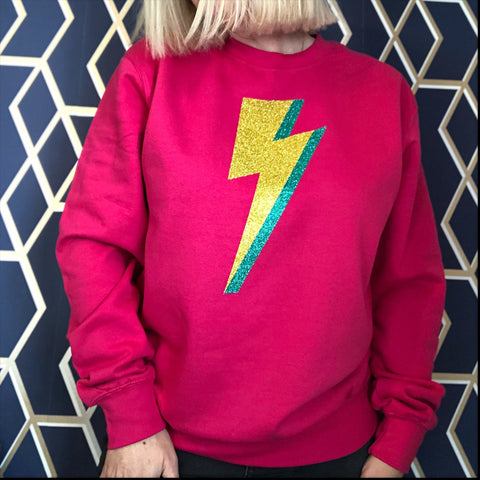 Bright Pink Lightning Blot Jumper - Glitter & Mud