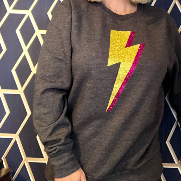 Lightning Bolt Jumper Dark Grey - Glitter & Mud