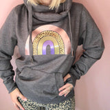 Rainbow Cowl Neck Hoodie Dark Grey - Glitter & Mud