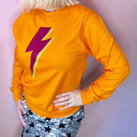 Orange Lightning Blot Jumper - Glitter & Mud