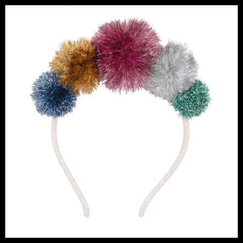 Tinsel Pom Pom Hairband - Glitter & Mud