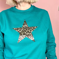 Womens Star Sweatshirt, leopard print star, gym yoga wear
