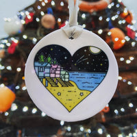 Hanging ceramic souvenir of Wells next the sea, Norfolk. Available at Glitter and Mud in Wells next the sea Norfolk. Places to stay in Wells next the sea