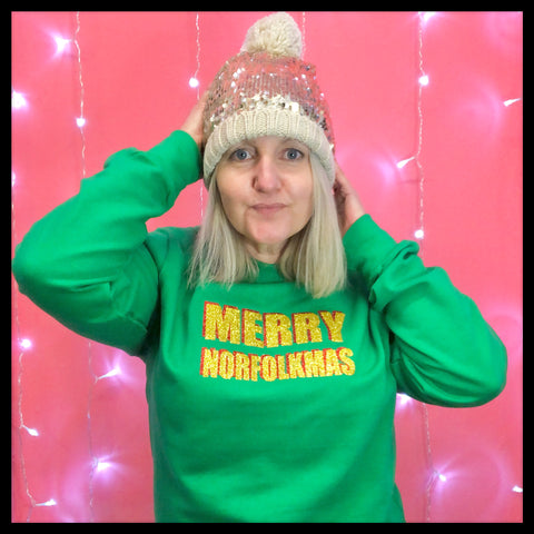 Merry Norfolkmas Green Jumper - Glitter & Mud