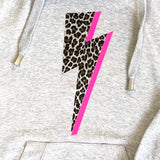 Women's Light Grey Cowl Neck Hoodie Hoodie with silver leopard print & Neon Pink or lilac lightning bolt. - made to order in Wells next the sea, Norfolk by Glitter & Mud.