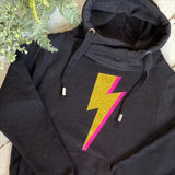 Women's Cowl Neck Hoodie with gold glitter & Neon Pink lightning bolt. - made to order in Wells next the sea, Norfolk by Glitter & Mud. ladies Light grey, dark grey or black cowl neck hoodie