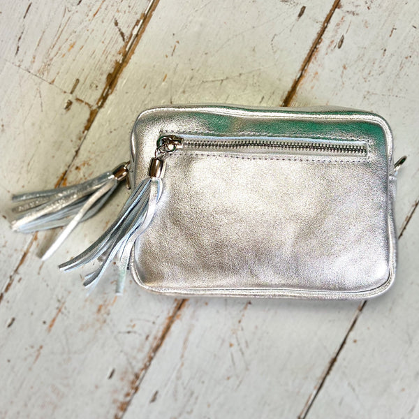 Metallic Silver Leather Camera Bag - Glitter & Mud