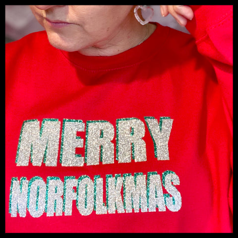 Merry Norfolkmas Red Jumper - Glitter & Mud