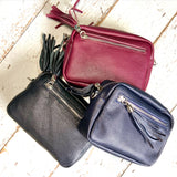 Beautiful leather cross body bags in dark colours, superb quality with silver hardware. Leather tassels on zipped front pocket & top main zip. - Glitter & Mud