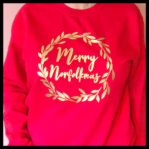 Wreath Merry Norfolkmas Red Jumper - Glitter & Mud