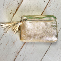 Metallic Gold Leather Camera Bag - Glitter & Mud