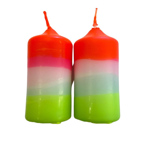 Set of 2 Neon Candles - Rainbow Wings