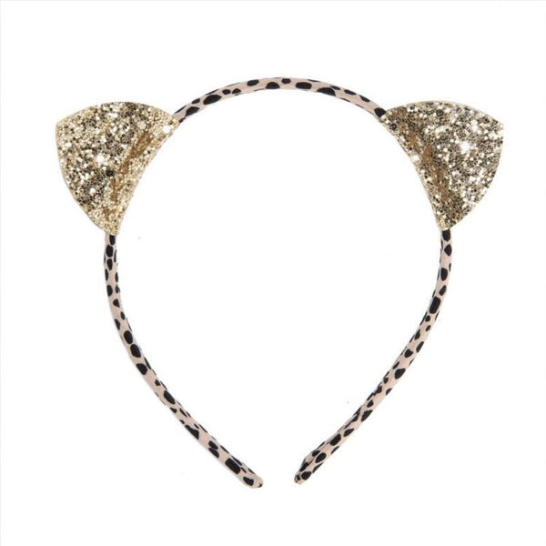 glitter Cats ears children's hairband.Embellish your hair with these gold glitter ears set onto a leopard print band! This lovely head band is designed to provide a comfortable fit for little heads.   Glitter & Mud