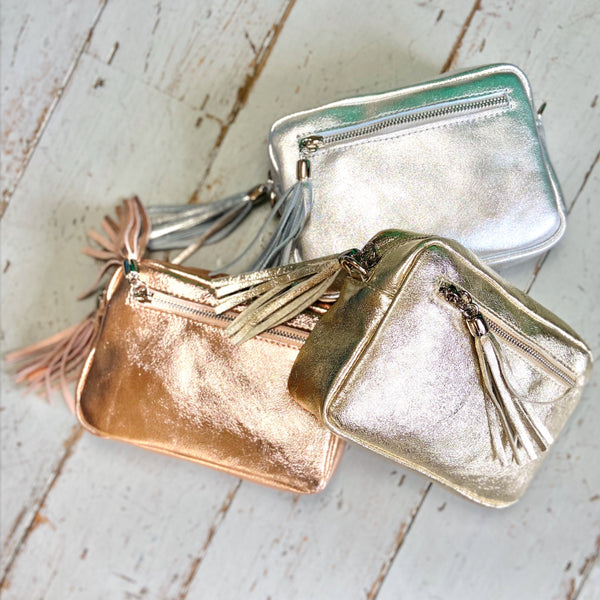 Metallic Leather Camera Bag - Glitter & Mud
