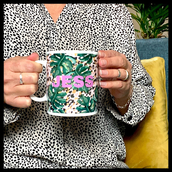 Personalised Monstera Leopard Print Mug - Glitter & Mud