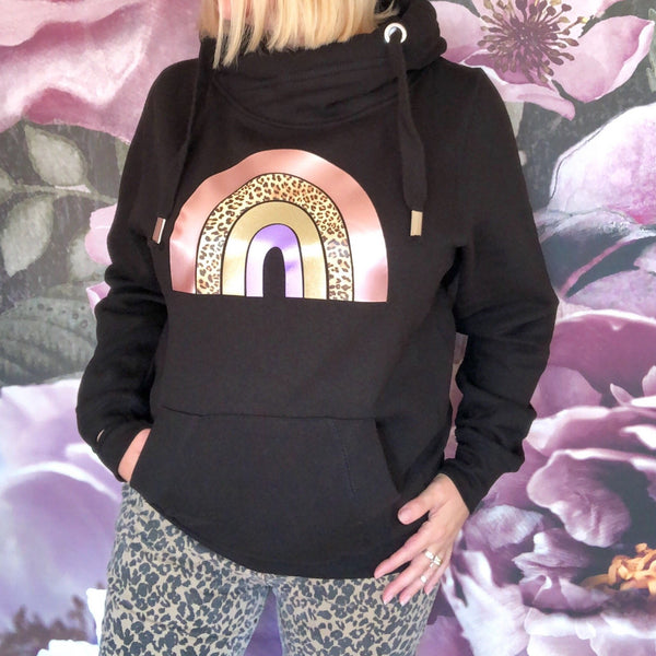 Rainbow Cowl Neck Hoodie Black - Glitter & Mud
