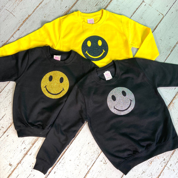 90's raver smiley face kids sweatshirt  jumper - Glitter & Mud