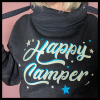 Glow in the Dark 'Happy Camper' Cowl Black Neck Hoodie - Glitter & Mud