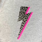 Women's Leopard Lightning Bolt with Neon Pink Flash Sweatshirt in light Grey or dark grey - Glitter & Mud - Wells-next the sea, Norfolk. Our clothing is ethically sourced and are a Worldwide Responsible Accredited Production (WRAP) certified product. Vegan Approved.Places to stay in Wells next the Sea Norfolk