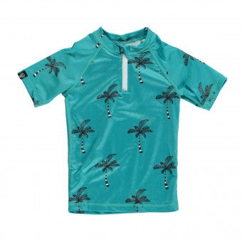 Beach and Bandits coconut tree turquoise UPF+50 tee rashguard at Billie & Axel, CANADA & USA