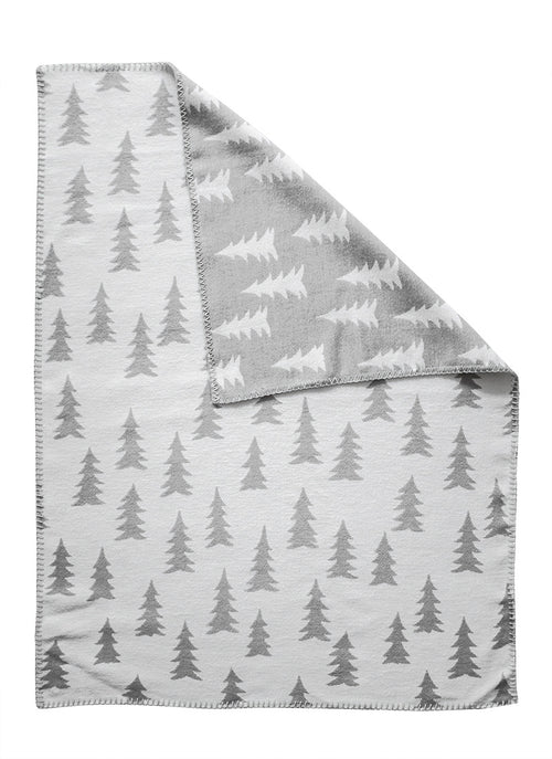 FINE LITTLE DAY GRAN BLANKET BRUSHED ECO COTTON GREY/WHITE EDGE