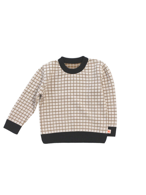 TINYCOTTONS GRID SWEATER KNIT BEIGE/BLACK Billie & Axel, Montreal, Canada