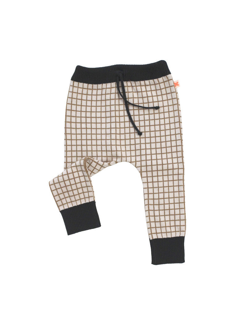 TINY COTTONS GRID PANT KNIT BEIGE/BLACK-PANT-TINYCOTTONS-Billie & Axel, Montreal, Canada & USA