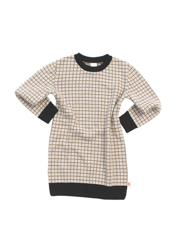 TINYCOTTONS GRID OVERSIZED SWEATER KNIT BEIGE/BLACK Billie & Axel, Montreal, Canada
