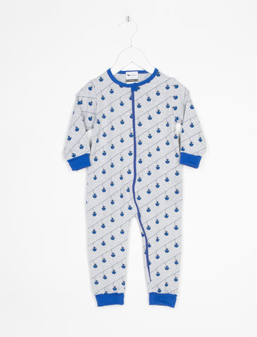L'ASTICOT ORGANIC COTTON ROMPER BLUE CABLE CARS Billie & Axel, Montreal, Canada