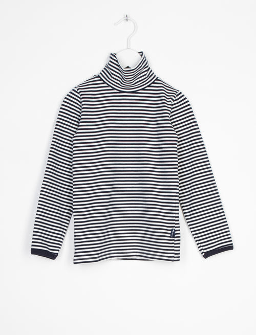 L'ASTICOT ORGANIC COTTON TURTLENECK BLUE STRIPES-TOP-L'ASTICOT-Billie & Axel, Montreal, Canada & USA