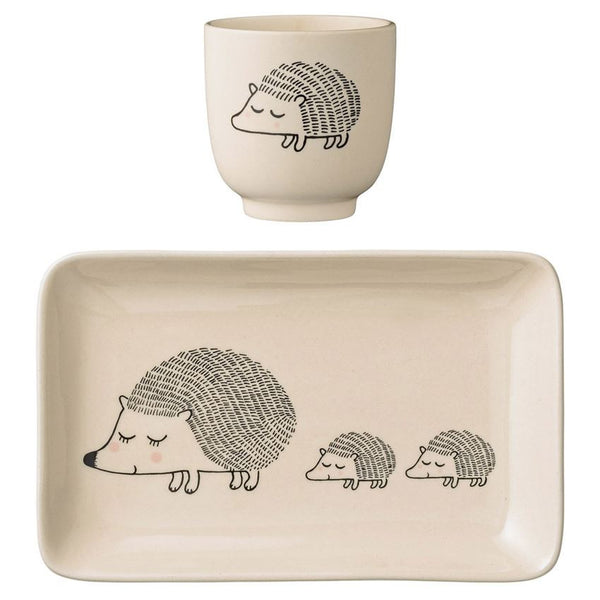 BLOOMINGVILLE SET OF 2 CERAMIC HEDGEHOG PLATE & CUP Billie & Axel, Montreal, Canada