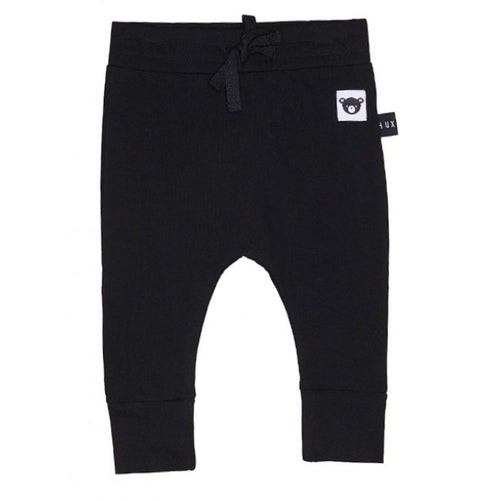 Drop Crotch Pant Bear Embroidery Black by Huxbaby Billie & Axel, Montreal, Canada & USA