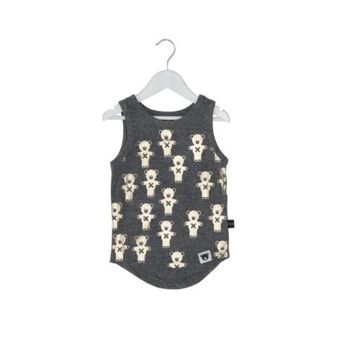 HUXBABY SOLDIER BEARS SINGLET CHARCOAL SLUB/GOLD