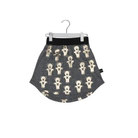 HUXBABY SOLDIER BEARS DROP BACK SKIRT CHARCOAL SLUB/GOLD