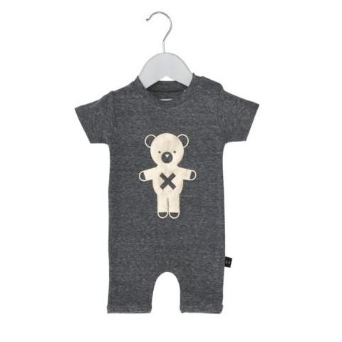HUXBABY SOLDIER BEAR SHORT ROMPER CHARCOAL SLUB/GOLD