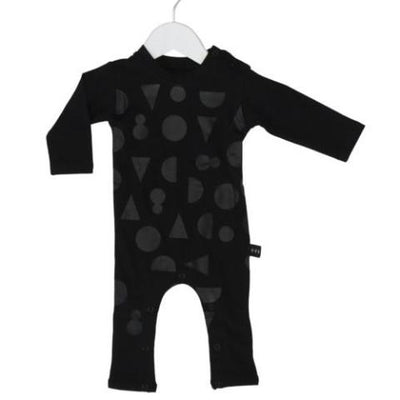 Huxbaby shapes black on black long romper black at Billie & Axel, Montreal, Canada