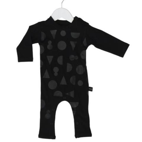 HUXBABY SHAPES BLACK ON BLACK LONG ROMPER BLACK