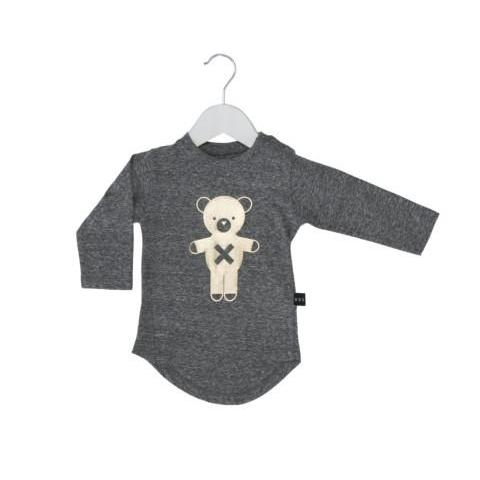 HUXBABY SOLDIER BEAR L/S TOP CHARCOAL SLUB/GOLD