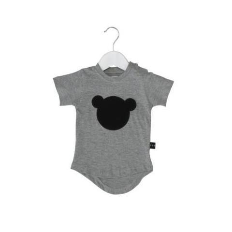 HUXBABY HUX BEAR APPLIQUE DROP BACK T-SHIRT CHARCOAL SLUB
