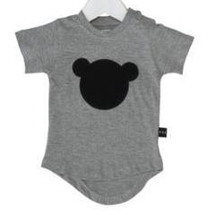 Huxbaby hux bear applique drop back t-shirt charcoal slub at Billie & Axel, Montreal, Canada