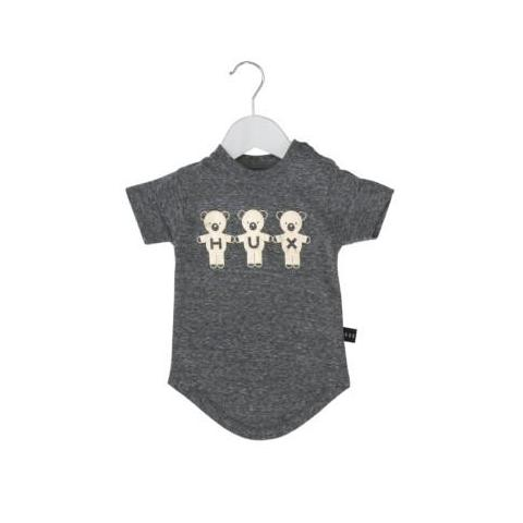 HUXBABY TEAM HUX DROP BACK T-SHIRT CHARCOAL SLUB/GOLD