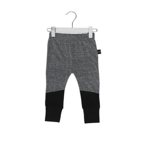 HUXBABY COLOUR BLOCK SKINNY LEGGING CHARCOAL SLUB/BLACK