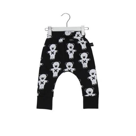 HUXBABY SOLDIER BEARS DROP CROTCH PANTS BLACK